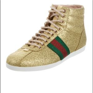 Gucci gold high top sneakers like new
